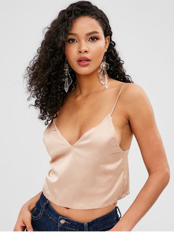 fancy Crop Satin Cami Top - BLANCHED ALMOND ONE SIZE