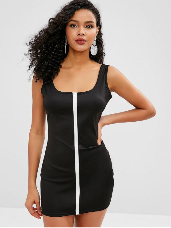 chic Zip Front Bodycon Dress - BLACK M