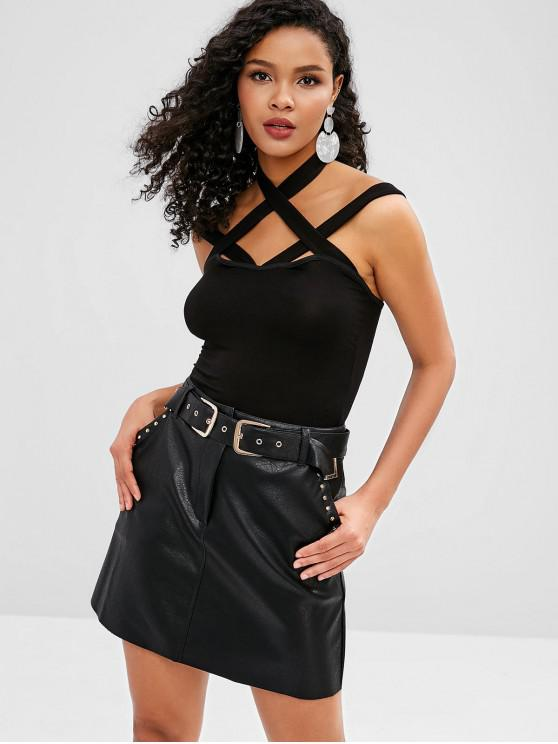 lady Cropped Strappy Tank Top - BLACK XL