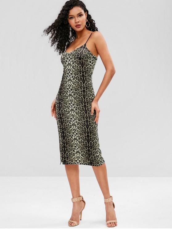 Leopard-Kleid mit Schlitz - Leopard Eine Größe