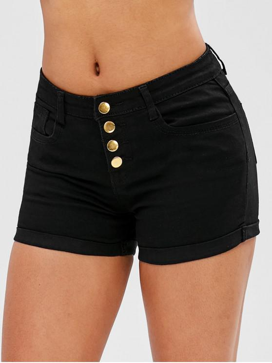 trendy Button Fly Plain Cuffed Shorts - BLACK M