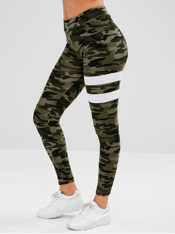 ladies High Rise Elastic Camo Leggings - ACU CAMOUFLAGE L
