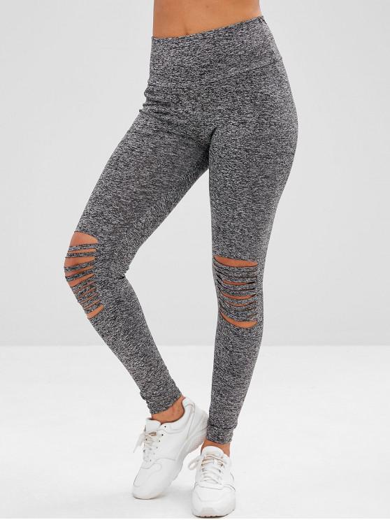 latest High Waisted Cutout Heathered Leggings - GRAY XL