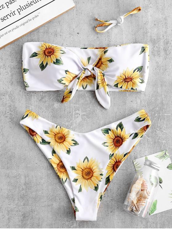 latest ZAFUL Knot Sunflower Print Bikini Set - WHITE L