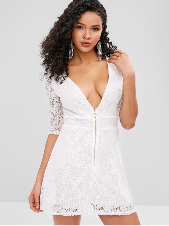 郵編接待迷你蕾絲連衣裙 - 白色 M
