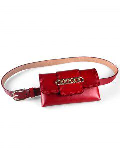Chain Decoration PU Fanny Pack Belt - Lava Red