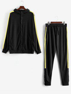 Side Stripe Snap Button Hoodie Jogger Pants Suit - Yellow L