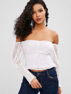 ZAFUL Off Shoulder Smocked Lace Blouse - White Xl