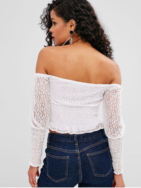 affordable ZAFUL Off Shoulder Smocked Lace Blouse - WHITE XL Mobile