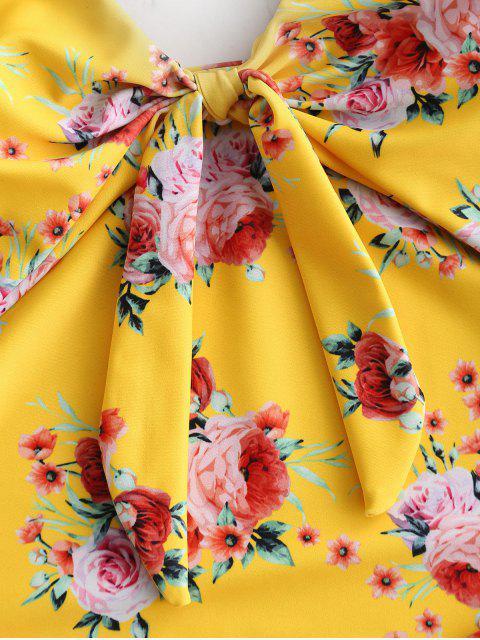 ZAFUL Flower Tied Cut Out traje de baño - Multicolor L Mobile