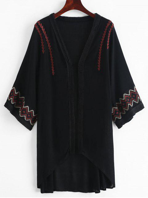 outfit Embroidered Kimono Cover-up - BLACK ONE SIZE Mobile