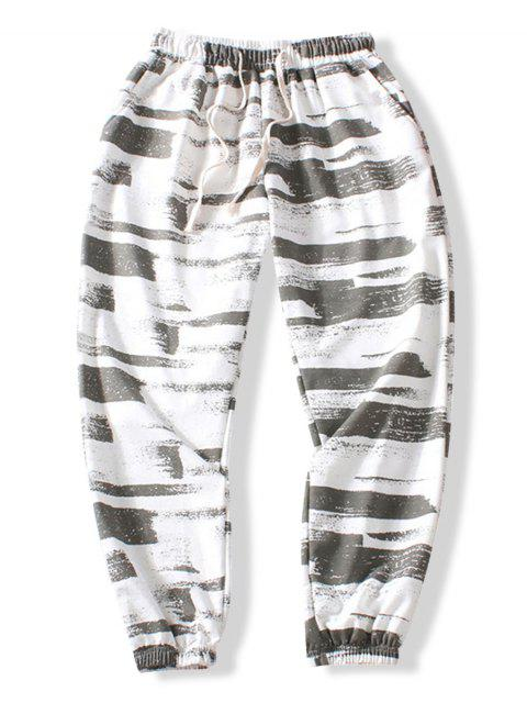 buy Stripes Painting Print Casual Jogger Pants - GRAY CLOUD 2XL Mobile