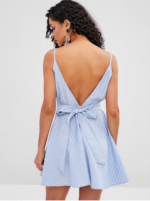 ZAFUL Robe Trapèze à Bretelle Nouée Rayée - Bleu Ciel Léger  L Mobile