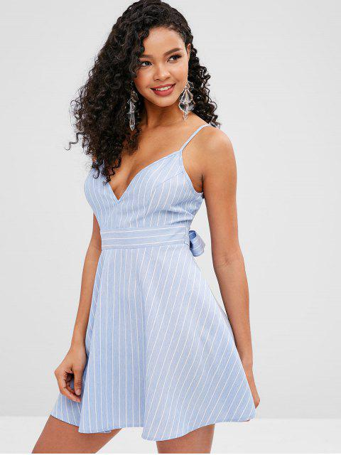 outfits ZAFUL Knotted Striped Cami A Line Dress - LIGHT SKY BLUE XL Mobile