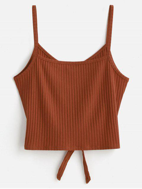 chic ZAFUL Tie Front Cami Tank Top - LIGHT BROWN L Mobile