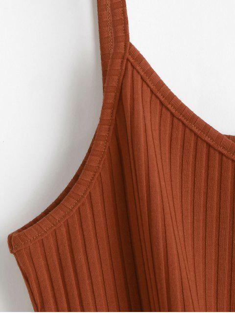 online ZAFUL Tie Front Cami Tank Top - LIGHT BROWN S Mobile
