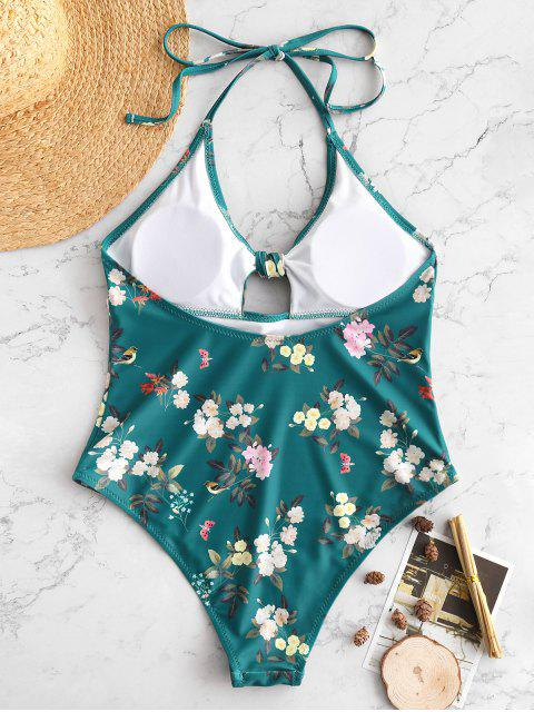 shops ZAFUL Flower Tied Halter Backless Swimsuit - MULTI S Mobile
