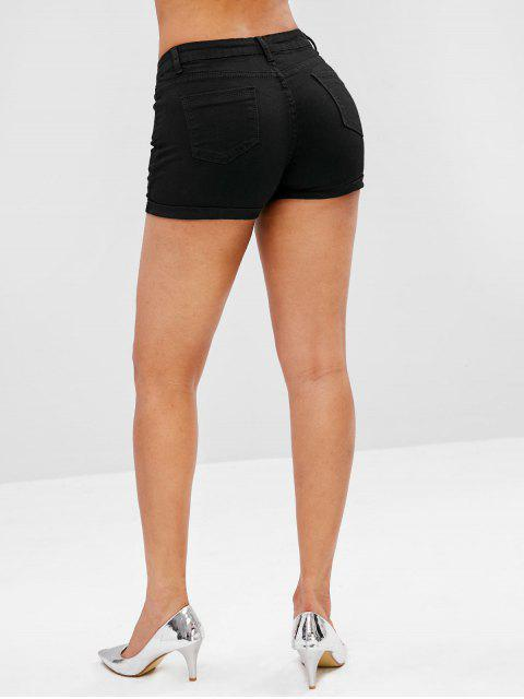 affordable Button Fly Plain Cuffed Shorts - BLACK XL Mobile