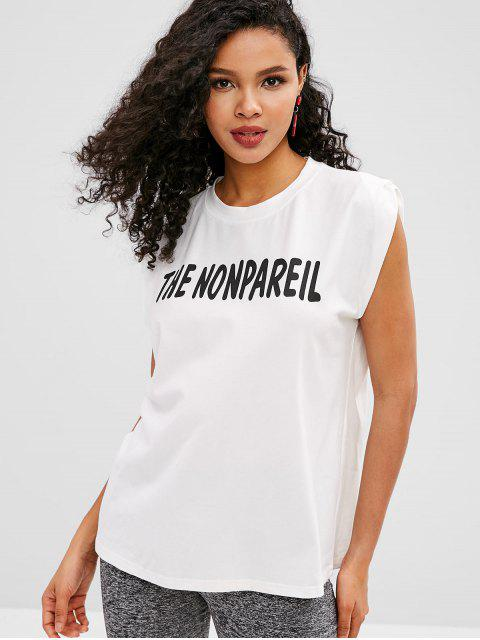 chic Sleeveless Boxy Graphic Tee - WHITE ONE SIZE Mobile