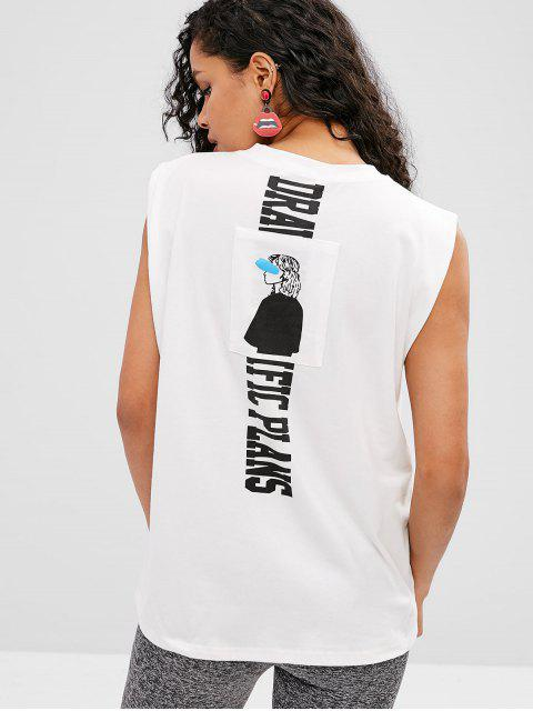 T-shirt Graphique Sans Manches - Blanc Taille Unique Mobile