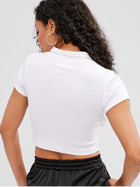 Zip Front Plain Crop Tee - Blanco L Mobile
