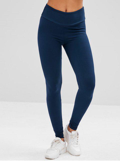 Leggings de yoga de cintura ancha - Cadetblue L Mobile