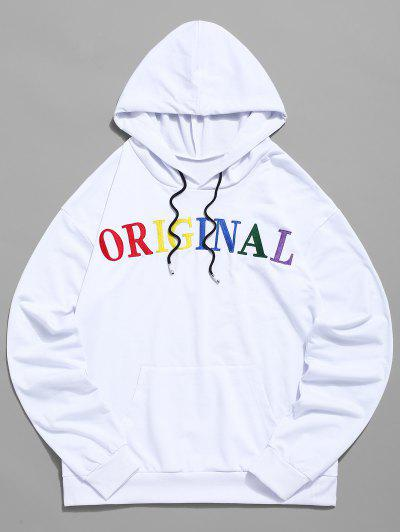 9b08c97c ZAFUL Letter Embroidered Pocket Drawstring Hoodie - White M ...