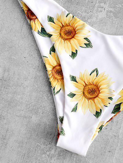 35bcfca156 ZAFUL Knot Sunflower Print Bikini Set, White - zaful.com - imall.com