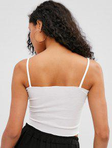 47b8d176141282 31% OFF  2019 Plain Cropped Cami Top In WHITE