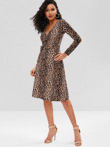 b332c5cd60bc ... Vestito Leopardato Con Cintura E Maniche Lunghe. Vestito Leopardato Con  Cintura E Maniche Lunghe - Leopardo Taglia unica