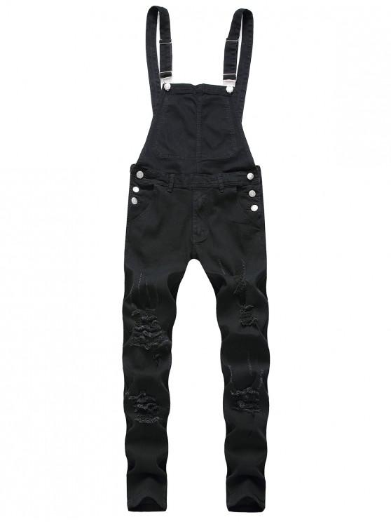 best Zip Fly Distressed Denim Jumpsuit - BLACK M