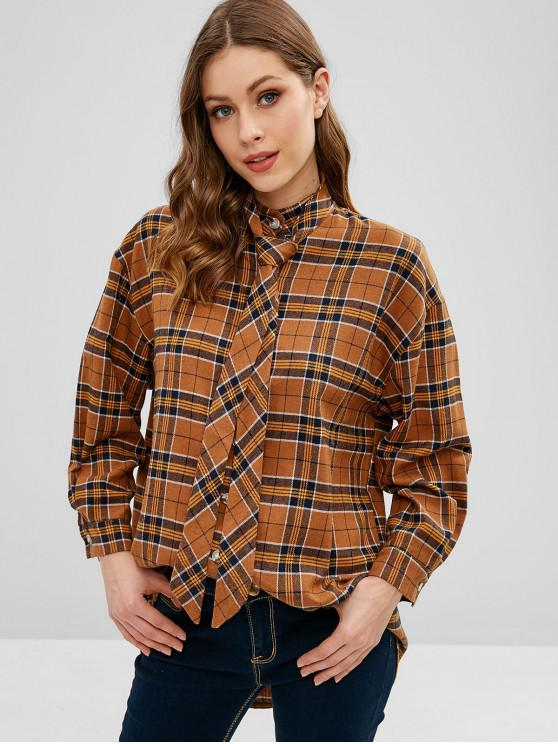 affordable Plaid Oversized Shirt With Neck Strap - MULTI ONE SIZE