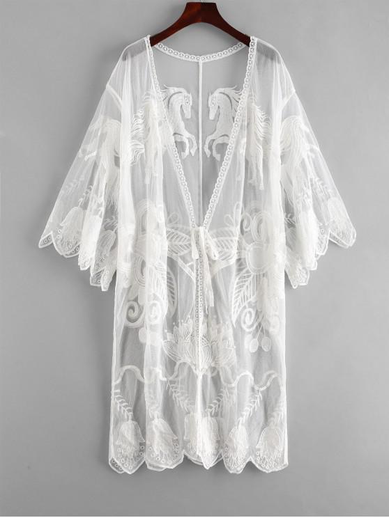 buy Embroidered Tie Front Kimono - WHITE ONE SIZE