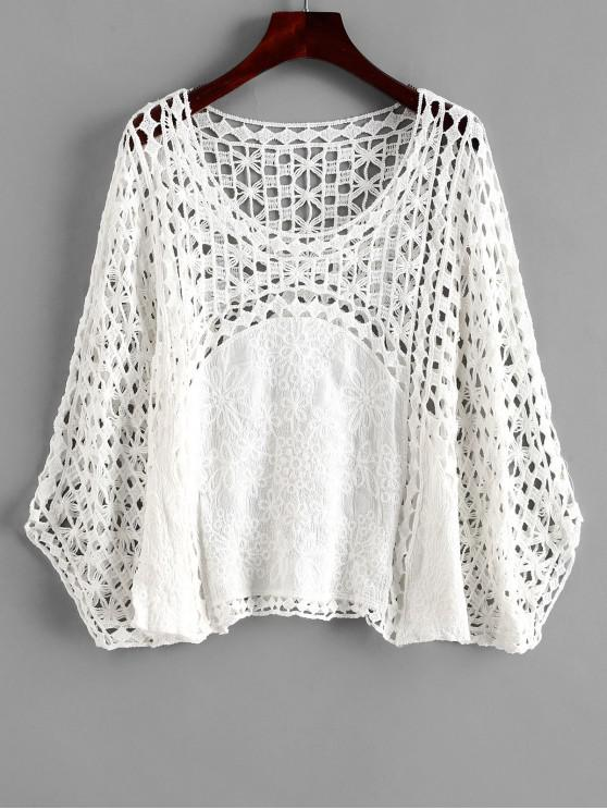 best Crochet Poncho Top - WHITE ONE SIZE