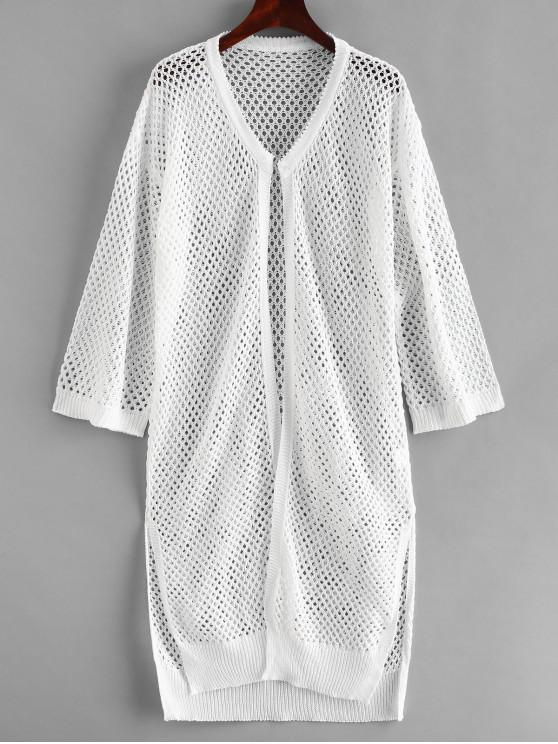 women's Side Slit Crochet Kimono - WHITE ONE SIZE