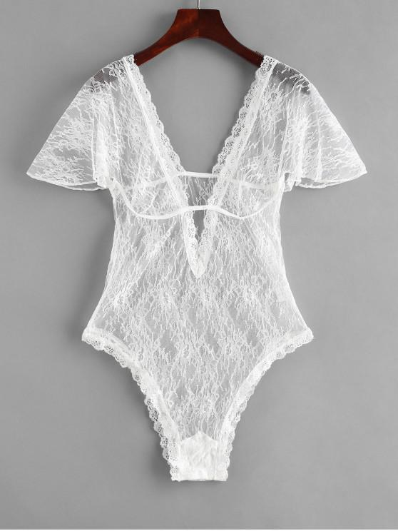 ladies Plunging Lace Short Sleeve Lingerie Teddy - WHITE M