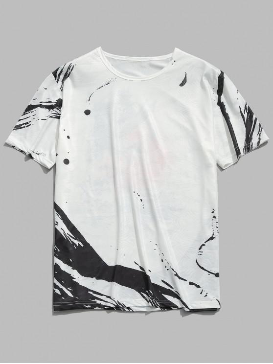 affordable Chinese Wash Painting Print Smooth Tee - WHITE 2XL