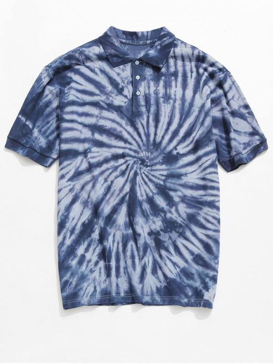hot Tie Dye Waffle Collared Tee Shirt - LIGHT BLUE L