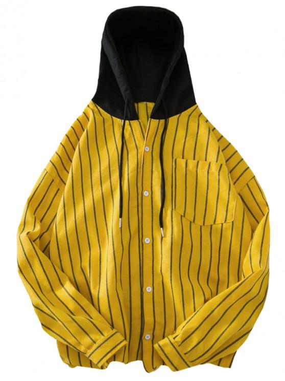 sale Button Up Stripeed Print Drawstring Shirt Hoodie - SUN YELLOW L