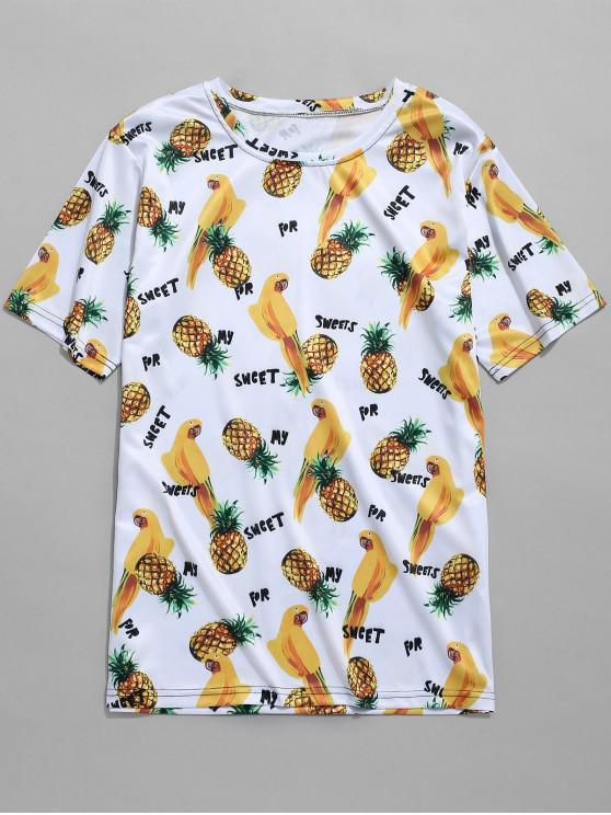 online Pineapples Parrots Print T-shirt - MULTI-E 4XL