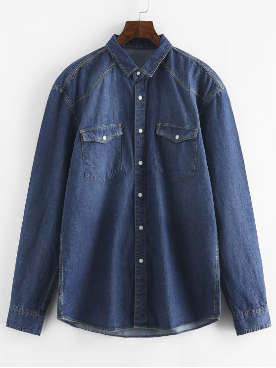 online Casual Button Fly Denim Shirt - DENIM BLUE XS
