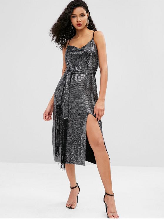 affordable Belted Glitter Slit Cami Dress - BLACK L