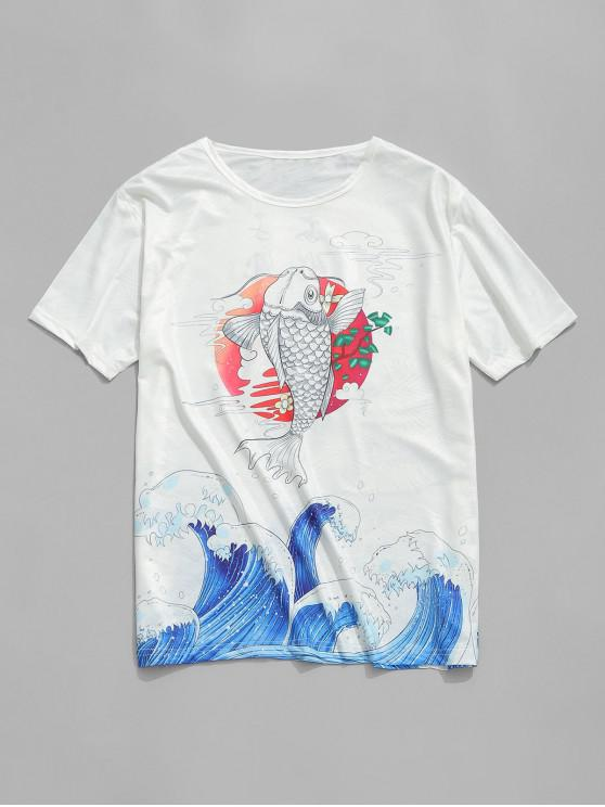 shops Fish Wave Print Jacquard Smooth Tee - WHITE L