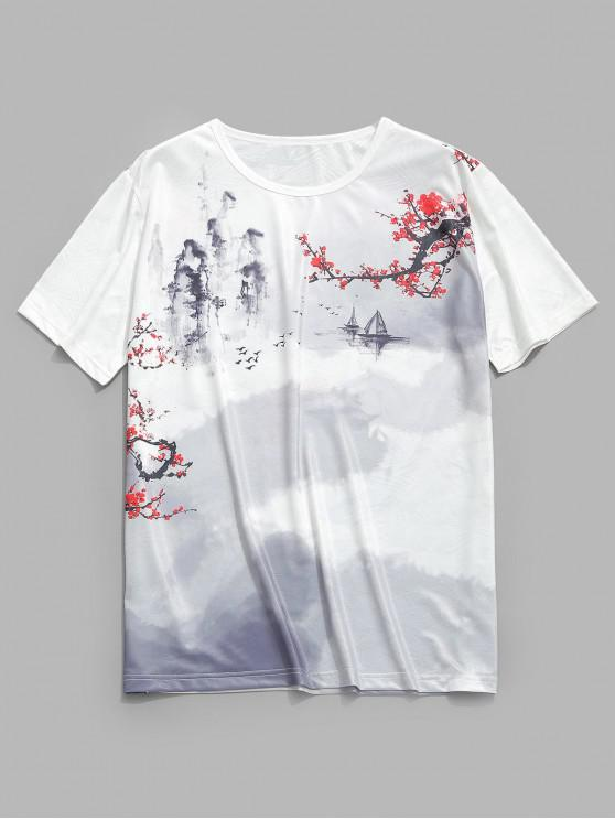affordable Ink and Wash Print Smooth Graphic Tee - WHITE 2XL