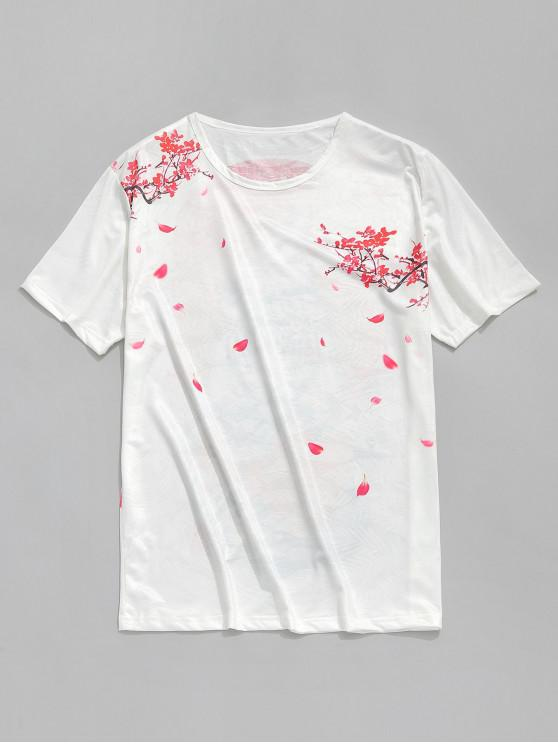 online Floral Tiger Print Smooth Tee - WHITE S