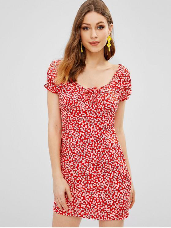 Mini robe moulante à fleurs - Rouge S