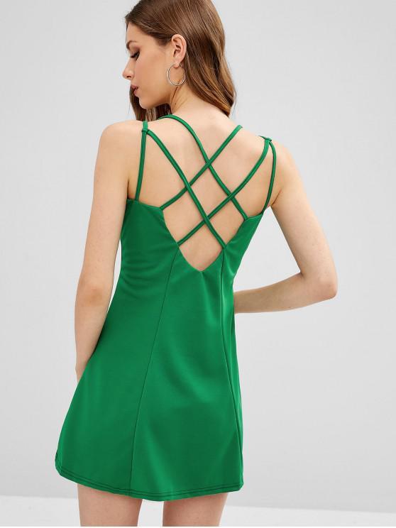 Mini robe à bretelles croisées - Vert Trèfle M