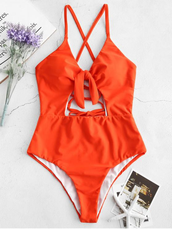 1df927bbb5a 19% OFF] 2019 ZAFUL Lace Up Tied Open Back Swimsuit In BRIGHT ORANGE ...