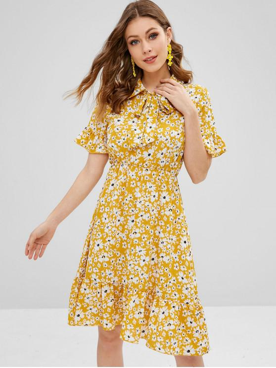 chic ZAFUL Bow Tie Ruffles Floral Dress - BEE YELLOW M