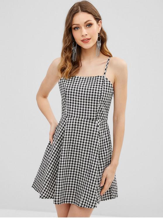 unique Cami Gingham A Line Dress - MULTI S